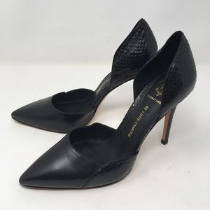 Vince camuto | black leather d'orsay heels reptile